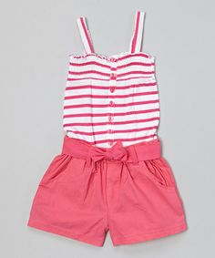 Look what I found on #zulily! Pink Stripe Romper - Infant & Toddler #zulilyfinds