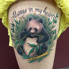 Colored Panda Bear On Thigh