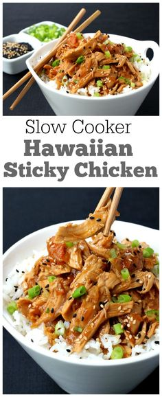 Easy Slow Cooker Hawaiian Sticky Chicken Recipe from RecipeGirl.com