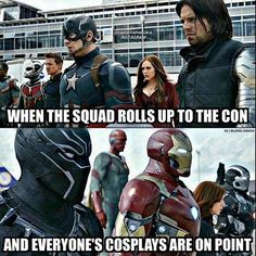 #SQUAD GOALS Meme by @captainamerica.x! #spiderman #avengers #avenger #mcu #captainamerica #hawkeye #hulk #thor #ironman #blackwidow #civilwar #epic #epiccomicpics #dope #sick #geek #nerd #comics #comic #comicbook #comix #superheroes #superhero #marvel #marvelheroes #marveluniverse #marvelcomics #marvel ------------------------------------------- CLICK LINK IN MY BIO To Check Out Some EPIC Geek Items! Dc Comics Superheroes, Marvel Dc Comics, Marvel Heroes, Captain America Trilogy, Best Cosplay, Awesome Cosplay, Comic Pictures, Squad Goals, Bucky Barnes
