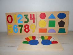 SET OF 3 Wooden Puzzle L/R Hands Counting Colorful Puzzles W/Shapes AGES 3-5 #Unbranded