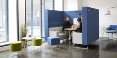Lagoon Media Booth w/ Extra High Back (1700mm).  Perfect for casual meetings and collaborative tasks amidst the open-plan office space.