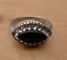 Vintage Sterling Silver Esposito Black Onyx and Cz Evil Eye Ring size 6.5 on Etsy, Sold
