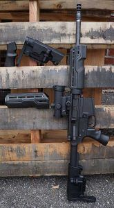 The TUK combines three, top-of-the-line A*B Arms AR-15 accessory brands; the A*B Arms A*B Pro Hand Guard, the A*B Arms SBR P*Grip pistol grip and the A*B Arms Urban Sniper Stock.