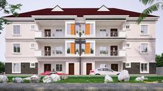 Architectural design of a proposed semidetached block of 6 units 2 bedroom flats, 2 storey 3 floors. All rooms ensuit with visitors toilet. Allowable plot size or bigger Flat House Design, Bungalow Haus Design, Modern Bungalow House, Bungalow Exterior, Duplex House Design, House Plans Mansion, Duplex House Plans, Family House Plans, Dream House Plans