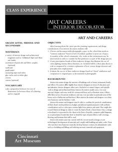 Art Careers Interior Decorator Lesson Plan