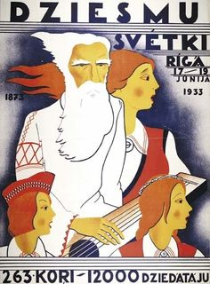 Ad for Latvian song festival in 1933, promising 263 choirs with 12,000 singers.