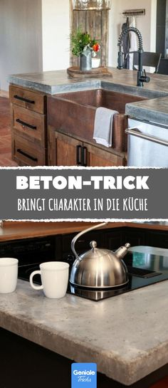 Günstiger Beton-Trick bringt Charakter in die Küche. Günstiger Beton-Trick bringt Charakter in die Küche. Home Decor Kitchen, Rustic Kitchen, Diy Home Decor, Diy Outdoor Furniture, Home Furniture, Furniture Design, Kitchen Cart, Home Renovation, Interior Design Living Room