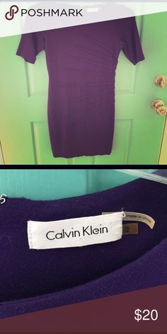 Calvin Klein Purple Mini - size 2 EUC beautiful eggplant purple dress with flattering stitching on the side. Fabric is a soft blend making this dress cute and comfortable. Calvin Klein Dresses Mini