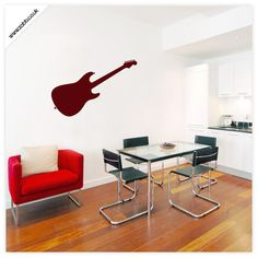 Shoply.com -Electric guitar vinyl wall sticker set - (unweeded and application tape provided). Only £4.99