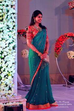 Half Saree Designs, Bridal Blouse Designs, Saree Blouse Designs, Indian Silk Sarees, Indian Beauty Saree, Bridal Silk Saree, Saree Wedding, Fancy Sarees, Party Wear Sarees