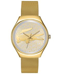 d67fcd75 Lacoste Watch, Women's Valencia Gold Ion-Plated Stainless Steel Mesh  Bracelet 38mm 2000811 Reloj