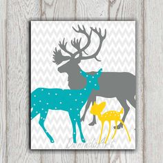 Teal yellow Gray Boy or Girls Bedroom decor print Deer family printable Grey chevron Nursery wall art poster Baby shower gift idea DOWNLOAD