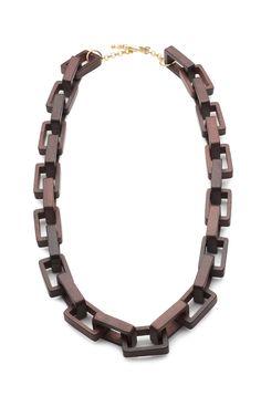 Kenneth Jay Lane : Rectangular Wood Link Necklace
