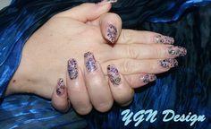 Acryl nagels nude met foil design