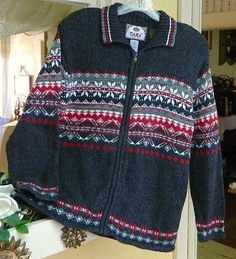 Tiara Fair Isle Square Yoke Zip Front Sweater M Charcoal Red White Classic #Tiara #FullZip