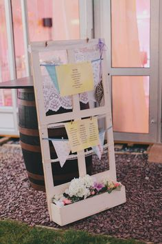 Cute window frame table plan with bunting Chic Wedding, Wedding Trends, Wedding Engagement, Wedding Details, Rustic Wedding, Our Wedding, Wedding Seating, Wedding Table, Bridal Shower Cards