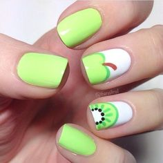 """nice Hannah  on Instagram: """"Another shot of my apple and kiwi nails  These are so much fun, and so simple! Green polish is Grass Is Lime Greener by #ChinaGlaze.…"""""""