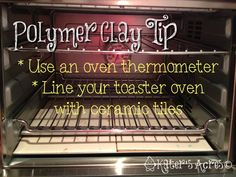 How to Bake Polymer Clay - Good discussion of basics & how to stabilize small ovens with ceramic tiles. Baking Polymer Clay, Polymer Clay Kunst, Polymer Clay Tools, Fimo Clay, Polymer Clay Projects, Polymer Clay Creations, Polymer Clay Beads, Metal Clay, Clay Oven