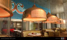 Designs by Atelier187 #restaurant #SaudiArabia #contemporary #chic #color #lighting #modern #design #architecture #Jeddah #CopperChimney