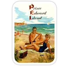 Prince Edward Island Canada PEI Vintage Travel Decal / These retro travel designs will make a great addition to your RV / Airstream / Winnebago / travel trailer / motorhome / westfalia / pickup / luggage / thule / dog / baby – the awesome can go anywhere! Don't settle for boring, load up on vintage class. / WAIT! Before you leave, check out my HUGE selection (multiple collections) of other vintage travel decals!* • Also buy this artw...