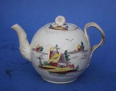 WONDERFUL 18th CENTURY CREAMWARE TEA POT & COVER LEEDS YORKSHIRE c.1780 Formerly in the famous B.G. Griffin Collection of Yorkshire pottery.  Condition, looks a little tired some minor staining to body and rubbing to handle. End of spout restored some small chips to the rim of the teapot . Aso a star crack I think has been sprayed out on the side in the area below the ruin and spout Lid has some restored chips to rim £134.00