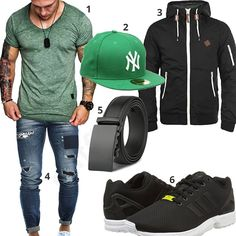 Casual street style for men with green Amaci & Sons shirt, New Era snapback cap, black solid transition jacket, Adidas sneakers, leather belt and blue Leif Nelson jeans.  1. Shirt► amzn.to/2o9Oyou second Mütze► amzn.to/2obOvIN 3. Jacke► amzn.to/2ESxf4I (-21%)  4. Hose► amzn.to/2ERrrZu 5. Geldbeutel► amzn.to/2ERrBjy 6. shoes► amzn.to/2Ht9OxF