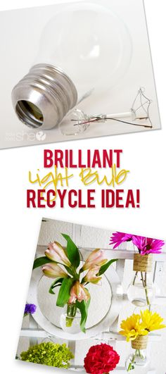Recycle your Burnt out Light Bulbs into Darling Vases~