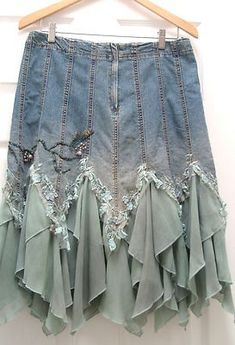 denim upcycle skirt | upcycled / Wow. Love this embellished denim skirt.
