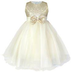 iEFiEL Robe de Demoiselle d'Honneur Mariage Enfant Corsage Pailletés Noued Papillon Champagne 5-6 ans