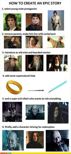 What do Harry Potter, ASOIAF, Star Wars, and The Lord of the Rings/The Hobbit have in common that makes them so popular? Plus Tv, Evil Villains, Epic Story, Story Story, Story Writer, Story Ideas, Morgan Freeman, Geek Out, Lord Of The Rings