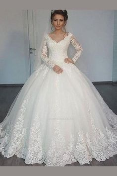 Long Sleeves Lace Ball Gown Wedding Dresses Online, Cheap Lace Bridal Dresses, is part of Ball gowns wedding Long Sleeves Lace Ball Gown Wedding Dresses Online, Cheap Lace Bridal Dresses, - V Neck Wedding Dress, Gorgeous Wedding Dress, Princess Wedding Dresses, Cheap Wedding Dress, Dream Wedding Dresses, Bridal Dresses, Tulle Wedding, Wedding Gowns, Wedding Venues