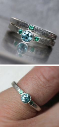 I like the look of the dark and organic style silver in contrast to the brightly colored stones on this one Emerald Engagement Ring Gems Jewelry, Cute Jewelry, Wedding Jewelry, Jewelry Box, Jewelry Accessories, Wedding Rings, Pretty Rings, Beautiful Rings, Antique Jewelry