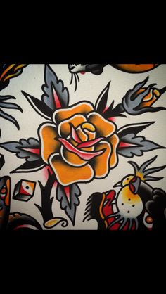 of-all-contradictions: Rose (at Speakeasy Tattoo) Rose Tattoo Traditional, American Traditional Rose, Traditional Roses, Traditional Tattoo Design, Traditional Tattoo Flash, Traditional Tattoo Stencils, Sanduhr Tattoo Old School, Speakeasy Tattoo, Desenhos Old School