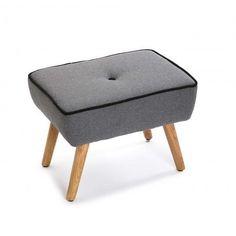 Taburete Montella madera algodón gris años 50
