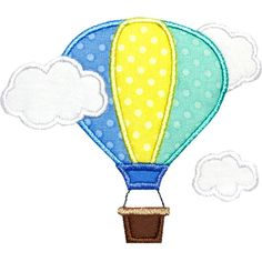 Hot Air Balloon Clouds Applique Design