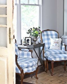 Spring style!! BLUE AND WHITE! Re-upholster old chairs!! lovely old chairs given new life with a fresh blue & white buffalo check upholstery