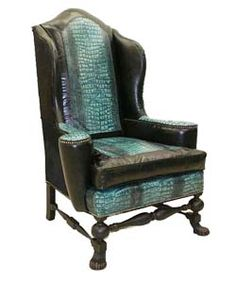 Verde Croco Wing Chair Old Hickory Tannery Furniture