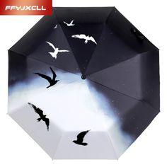 Fully-automatic Seagulls Printing Umbrella Men Women Folding Print Sunny and Rainy Umbrella Parasol Anti UV