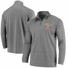 New York Mets Stitches Team Logo Quarter-Zip Pullover Jacket - Charcoal