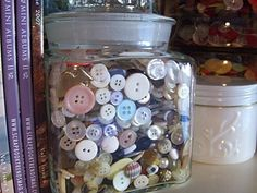 My mom had this pretty tin filled with spare buttons when we were kids. It was one of my favorite things to play with. I want to be a mom with a button tin.