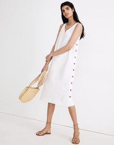Linen-Cotton Side-Button Midi Dress The White Album, V Neck Midi Dress, Altering Clothes, Lace Up Sandals, Urban Outfits, Barbie Clothes, Fashion Beauty, Women Wear, Dresses For Work