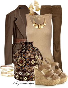 """""""Brown Ditty Bag"""" by arjanadesign ❤ liked on Polyvore"""