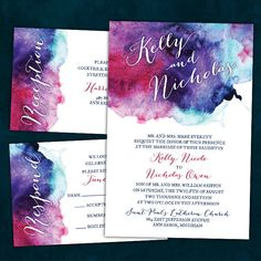Make your wedding into a work of art with these Jewel-Tone Watercolor Wedding Invitations.  They feature a unique and stunning watercolor design in shades of fuchsia, purple, blue and teal.