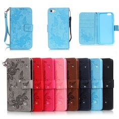 For iPhone 7 Bling Wallet Flip PU Leather Case For iPhone 7 4.7inch Phone Bags Rhinestone Butterfly Flower Cover Case