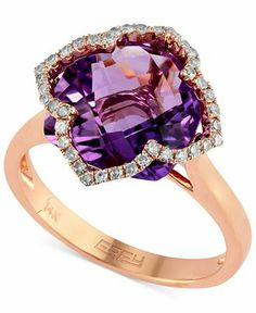 Lavender Rosé by EFFY 14k Rose Gold Amethyst (5-3/4 ct. t.w.) and Diamond (1/5 ct. t.w.) Clover Ring - Effy Rings - Jewelry & Watches - Macy...