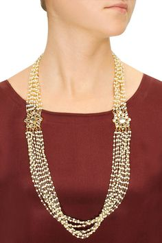 Gold plated pearl strands necklace  by Soranam.