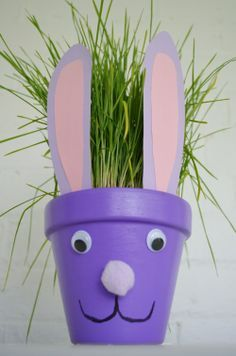 Preschool Crafts for Kids*: 30 Awesome Easter Bunny Crafts for Kids Flower Pot Crafts, Clay Pot Crafts, Bunny Crafts, Snowman Crafts, Flower Pots, Flower Seeds, Easy Crafts, Easter Projects, Easter Crafts For Kids