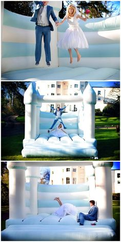 Ideas for a Fun Wedding Reception Have a bouncy castle at your wedding! - 15 Ideas for a Fun Wedding ReceptionHave a bouncy castle at your wedding! - 15 Ideas for a Fun Wedding Reception Wedding With Kids, Wedding Pics, Trendy Wedding, Dream Wedding, Wedding Ideas, Wedding App, Chic Wedding, Wedding Games For Guests, Wedding Verses