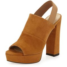 Stuart Weitzman Partition Suede Platform Sandal ($505) ❤ liked on Polyvore featuring shoes, sandals, camel, stretch sandals, thick heel sandals, high heel sandals, suede sandals and platform sandals